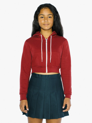 Kids' Flex Fleece Cropped Zip Hoodie (Cranberry)