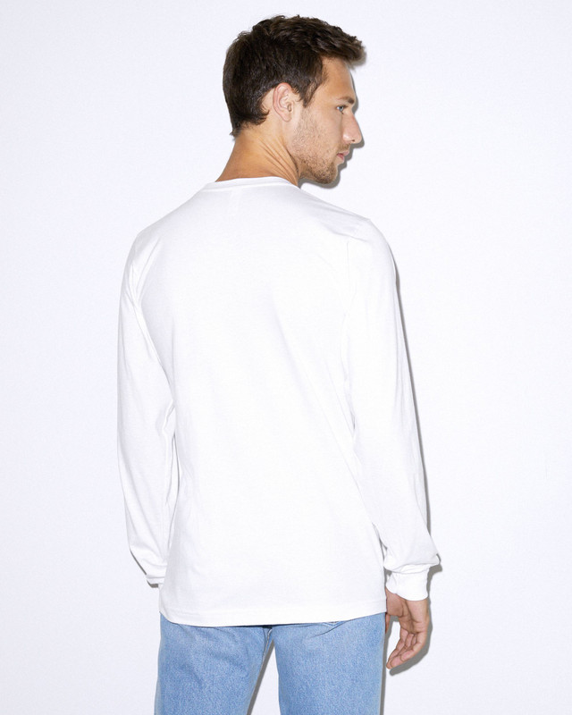Organic Fine Jersey Crewneck Long Sleeve T-Shirt (White)