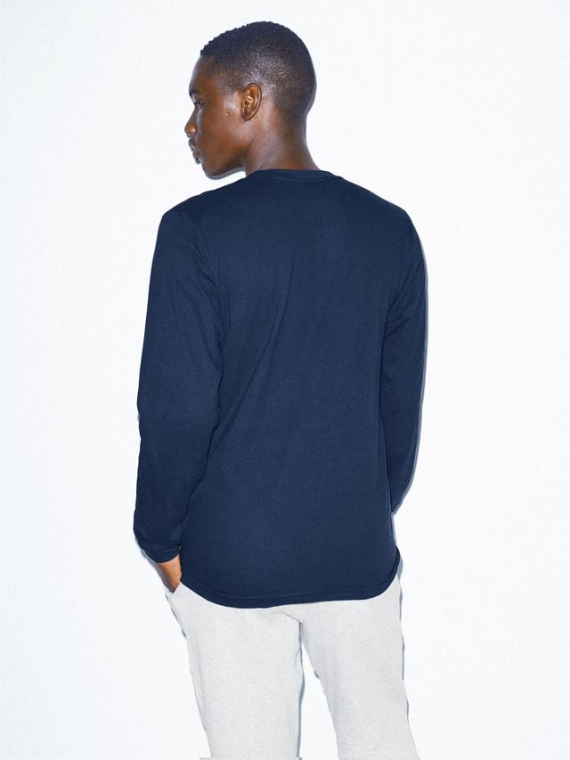 Fine Jersey Crewneck Long Sleeve T-Shirt (Navy)