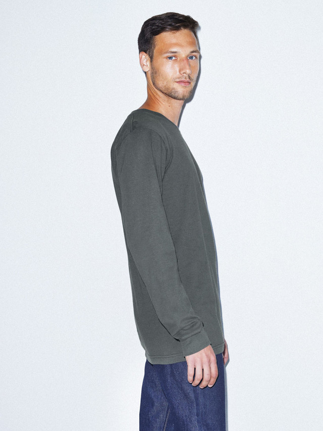 Fine Jersey Crewneck Long Sleeve T-Shirt (Asphalt)