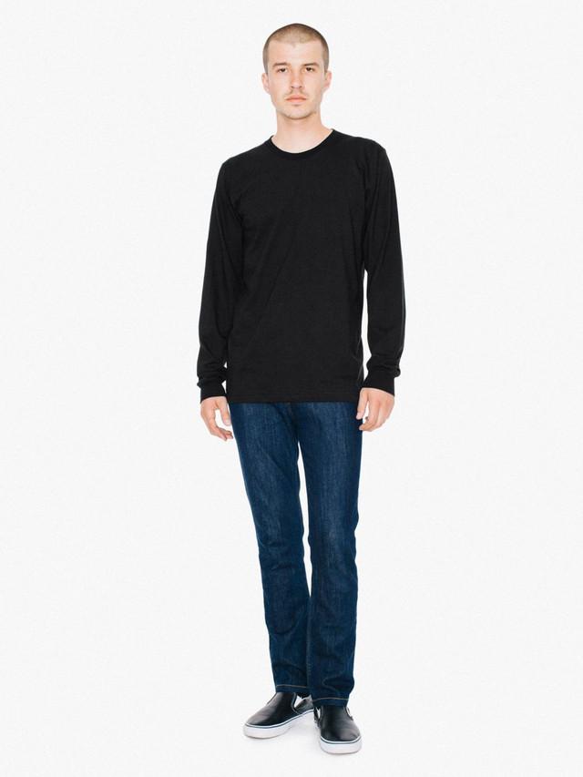 Fine Jersey Crewneck Long Sleeve T-Shirt (Black)