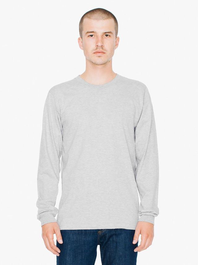 Fine Jersey Crewneck Long Sleeve T-Shirt (Heather Grey)