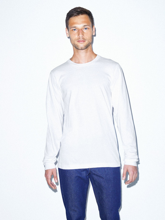 Fine Jersey Crewneck Long Sleeve T-Shirt (White)