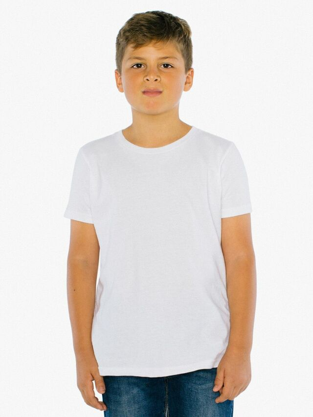 Youth Fine Jersey Crewneck T-Shirt (White)