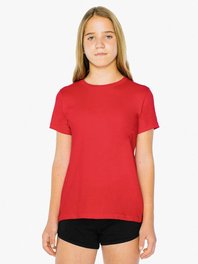 Unisex Youth Fine Jersey Crewneck T-Shirt (Red)