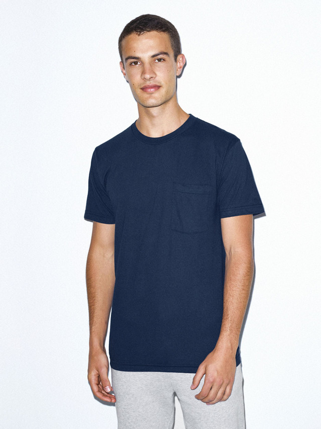 Fine Jersey Crewneck Pocket T-Shirt (Navy)