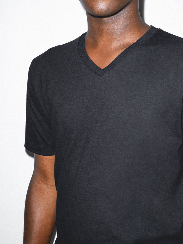 Organic Fine Jersey V-Neck T-Shirt (Black)