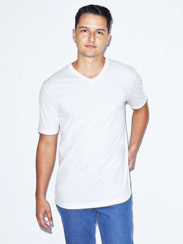 Organic Fine Jersey V-Neck T-Shirt (White)