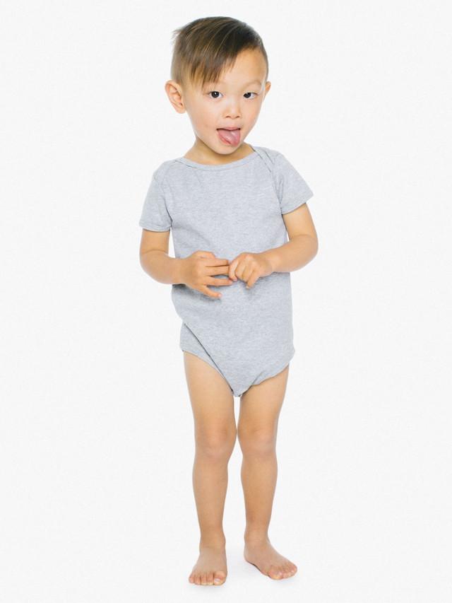 Infant Baby Rib Short Sleeve One-Piece (Heather Grey)