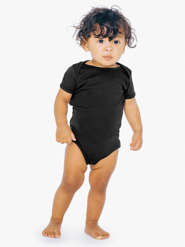 Infant Baby Rib Short Sleeve One-Piece (Black)