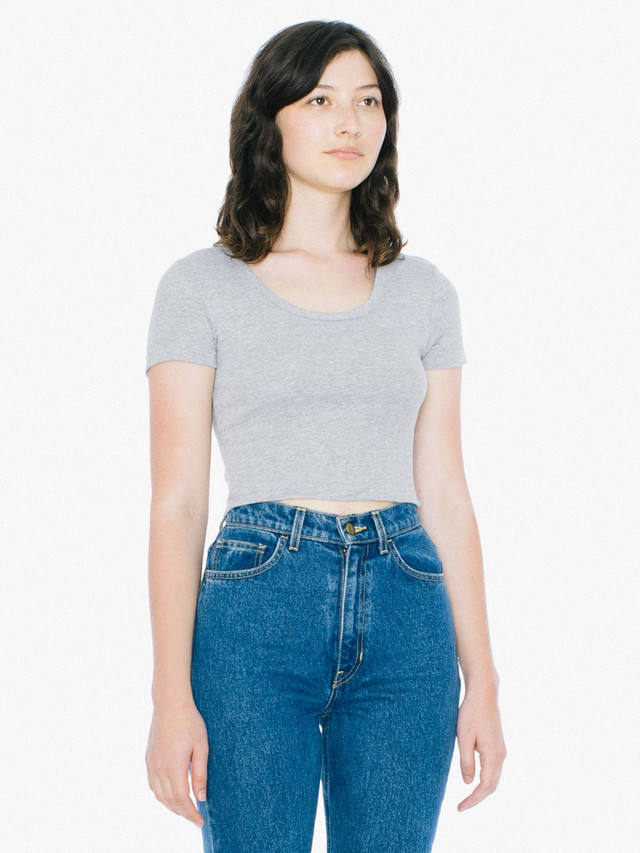 Baby Rib Crop T-Shirt (Heather Grey)