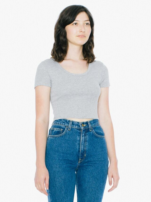 Baby Rib Crop T-Shirt (Heather Grey)