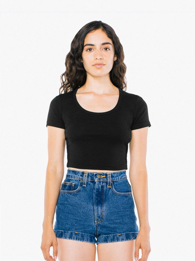 Baby Rib Crop T-Shirt (Black)