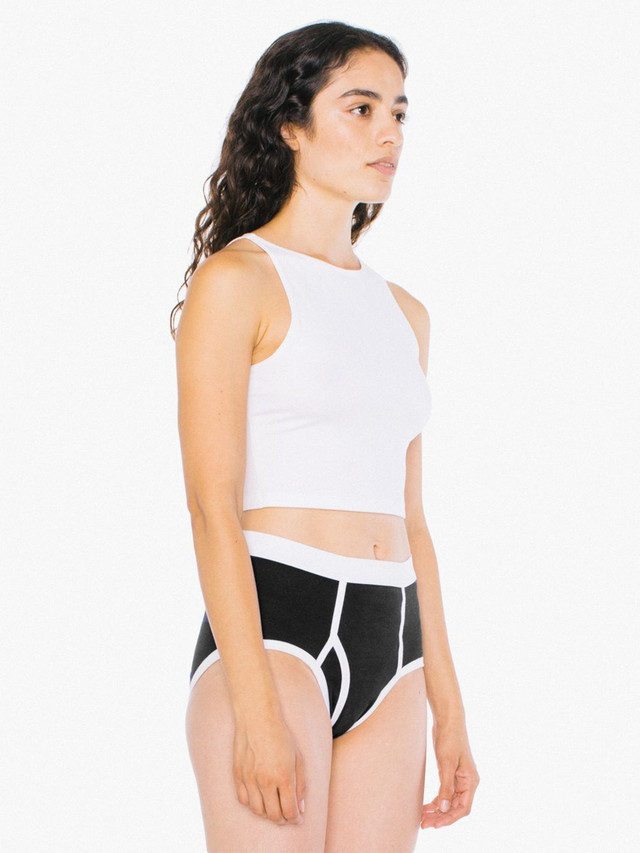 Unisex Baby Rib Brief (Black/White)