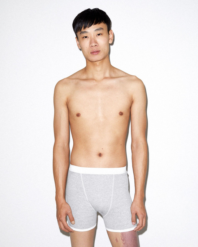 Baby Rib Boxer Brief (Heather Grey/White)