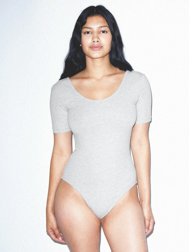 Cotton Spandex Short Sleeve Scoop Back Bodysuit (Heather Grey)