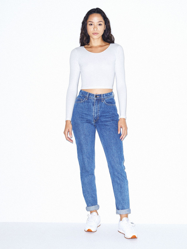 Cotton Spandex Jersey Long Sleeve Crop Top (White)