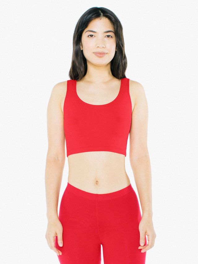 Cotton Spandex Crop Tank (Red)