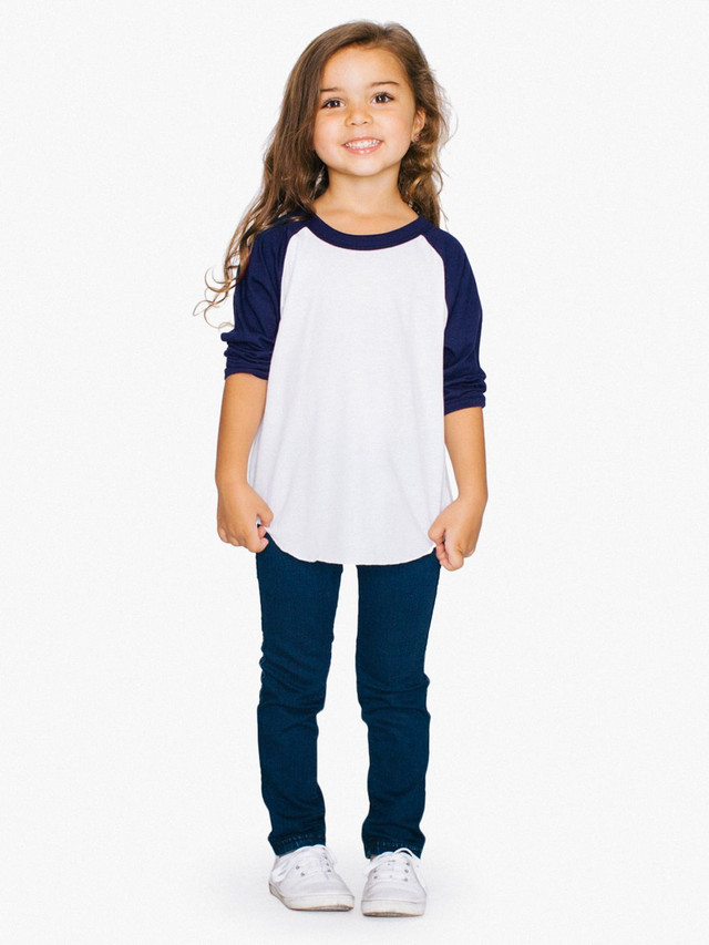 Toddler 50/50 3/4 Sleeve Raglan (White/Navy)