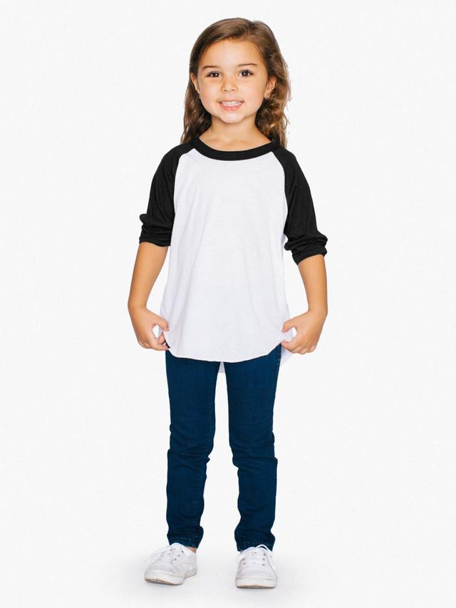 Toddler 50/50 3/4 Sleeve Raglan (White/Black)