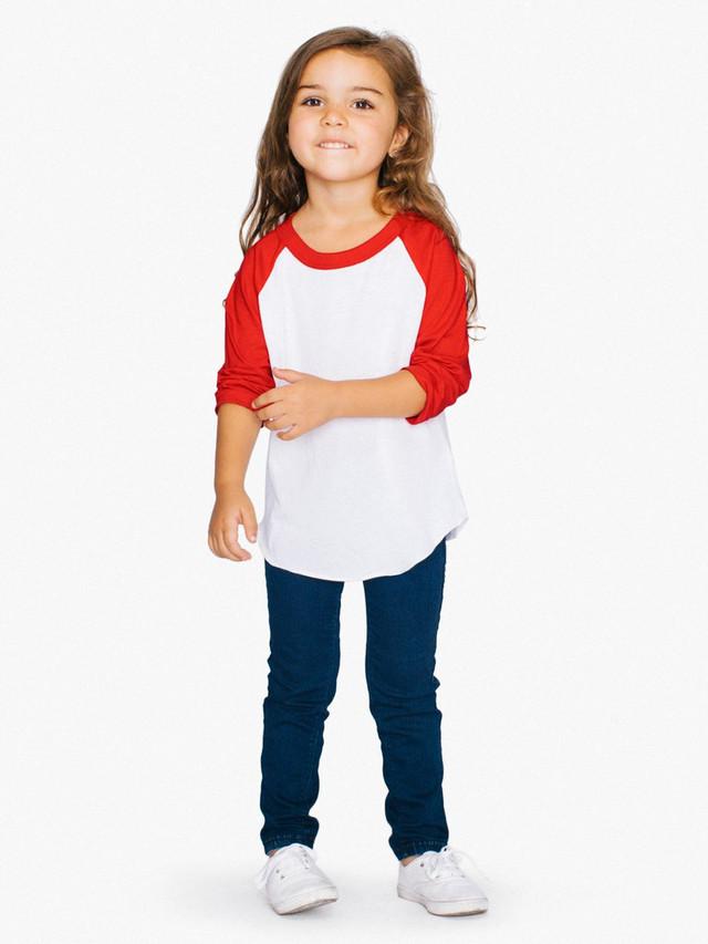 Toddler 50/50 3/4 Sleeve Raglan (White/Red)