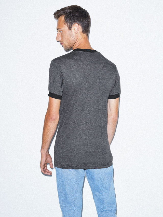 50/50 Crewneck Ringer T-Shirt (Heather Black/Black)