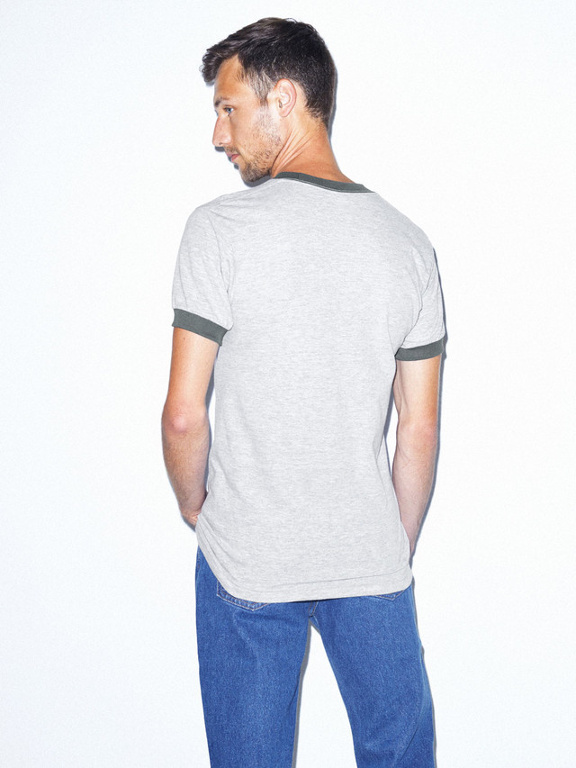50/50 Crewneck Ringer T-Shirt (Heather Grey/Asphalt)