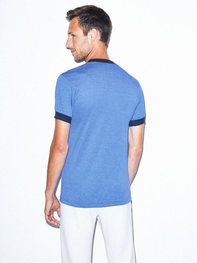 50/50 Crewneck Ringer T-Shirt (Heather Lake Blue/Navy)