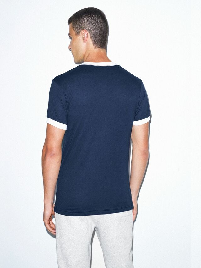 50/50 Crewneck Ringer T-Shirt (Navy/White)