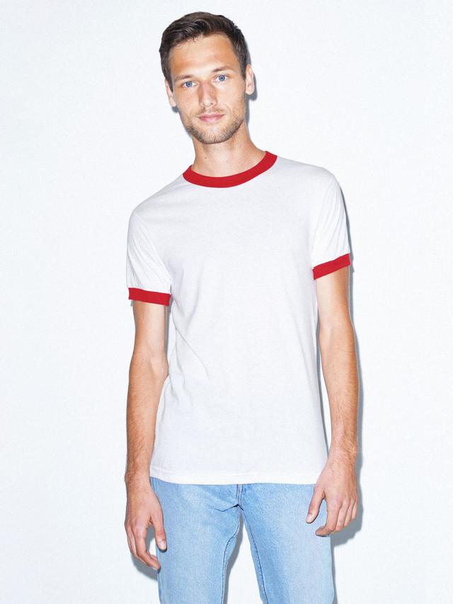 50/50 Crewneck Ringer T-Shirt (White/Red)