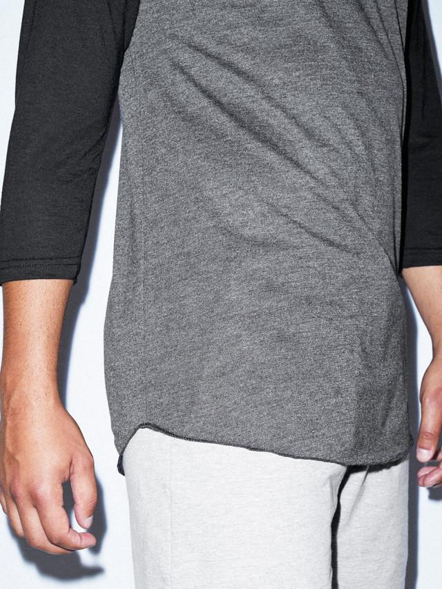 50/50 Raglan 3/4 Sleeve T-Shirt (Heather Black/Black)