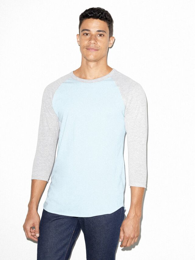 50/50 Raglan 3/4 Sleeve T-Shirt (Light Blue/Heather Grey)