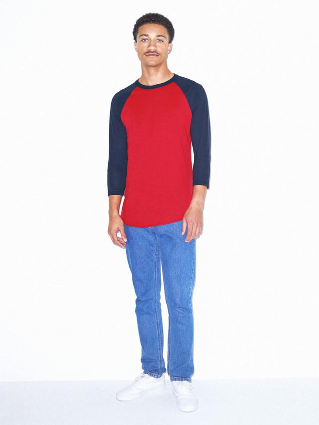 50/50 Raglan 3/4 Sleeve T-Shirt (Red/Navy)