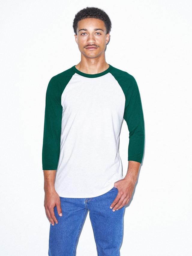 50/50 Raglan 3/4 Sleeve T-Shirt (White/Forest)