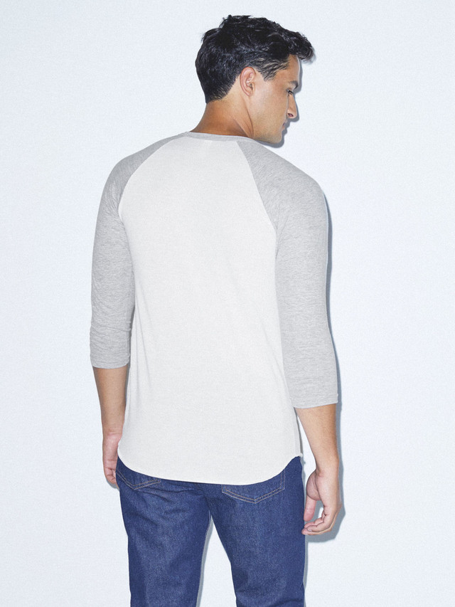 50/50 Raglan 3/4 Sleeve T-Shirt (White/Heather Grey)