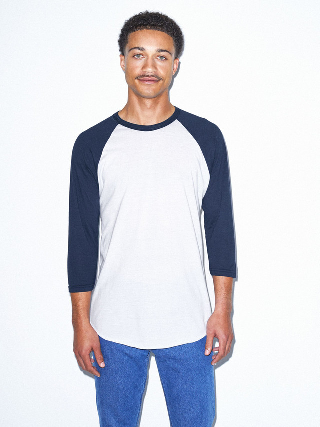 50/50 Raglan 3/4 Sleeve T-Shirt (White/Navy)