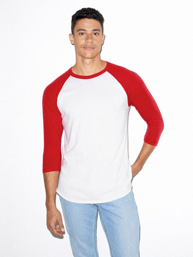 50/50 Raglan 3/4 Sleeve T-Shirt (White/Red)