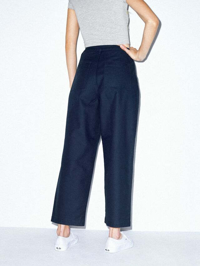 Twill Pleated Pant (Navy)