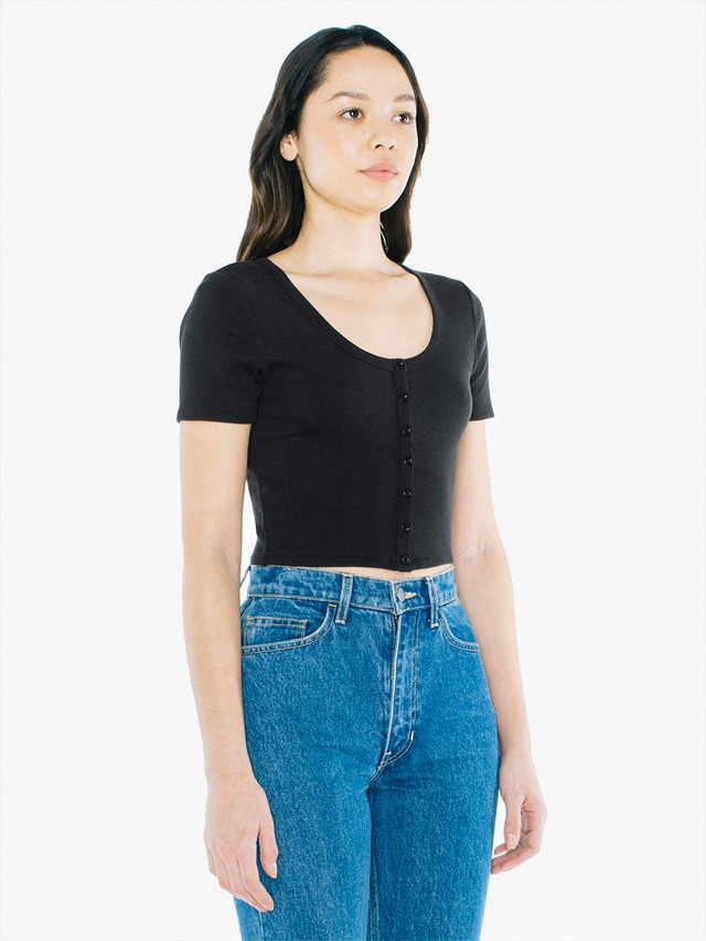 Cotton 2x2 Button Front Short Sleeve Crop Top (Black)