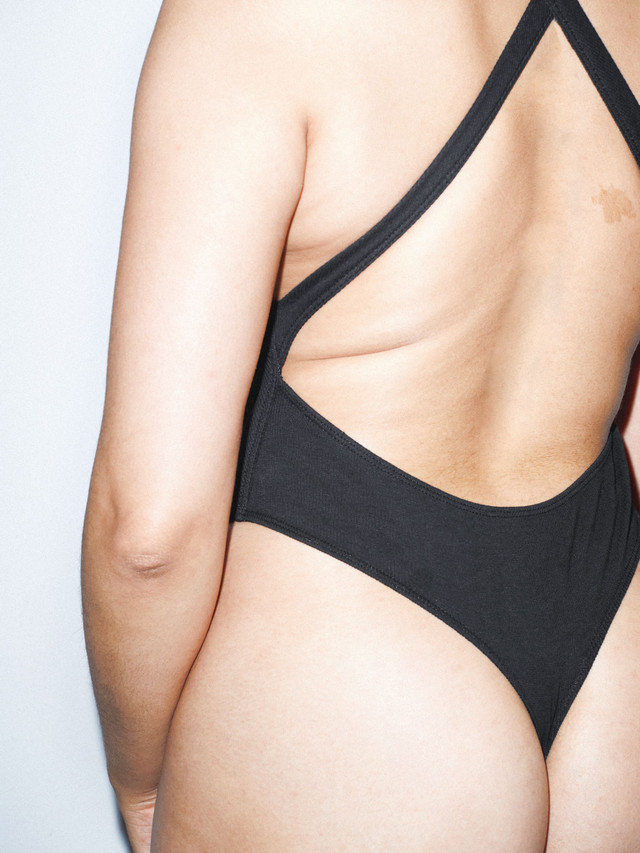 Ribbed Thick Strap Thong Bodysuit (Black)