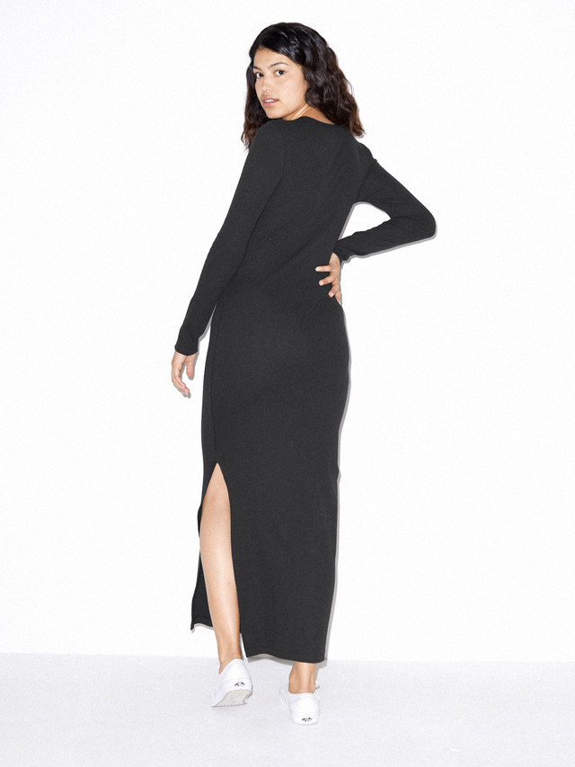 Cotton 2x2 Long Sleeve Crewneck Dress (Black)