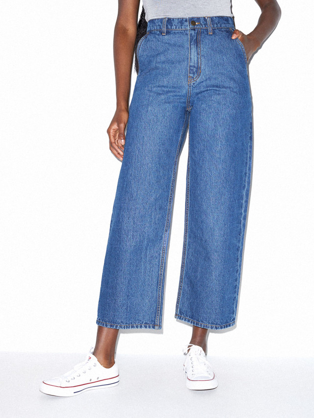 Crop Wide Leg Jean (Medium Wash)