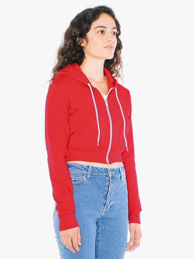 Flex Fleece Cropped Zip Hoodie (Red)