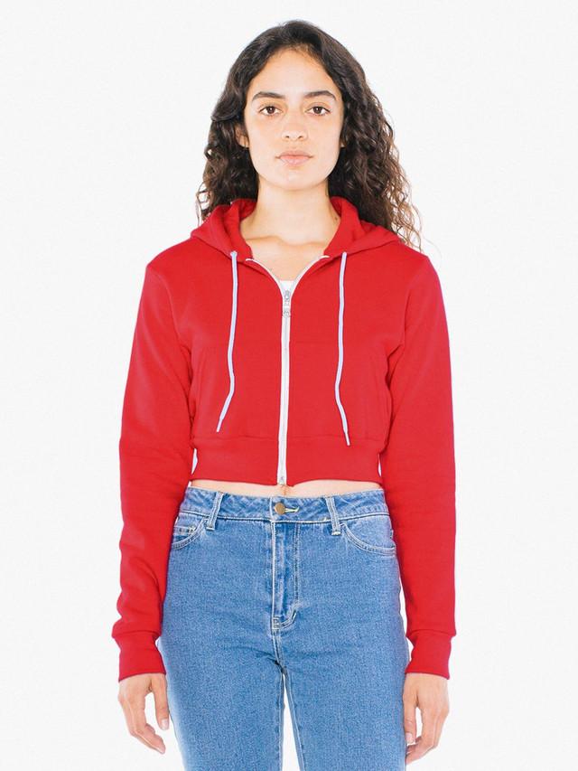 F397 Plain casual zip Hoody//jacket American Apparel Women/'s cropped hoodie