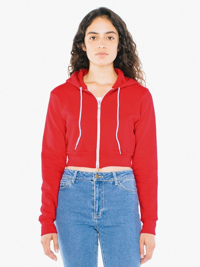 Flex Fleece Cropped Zip Hoodie (Red)