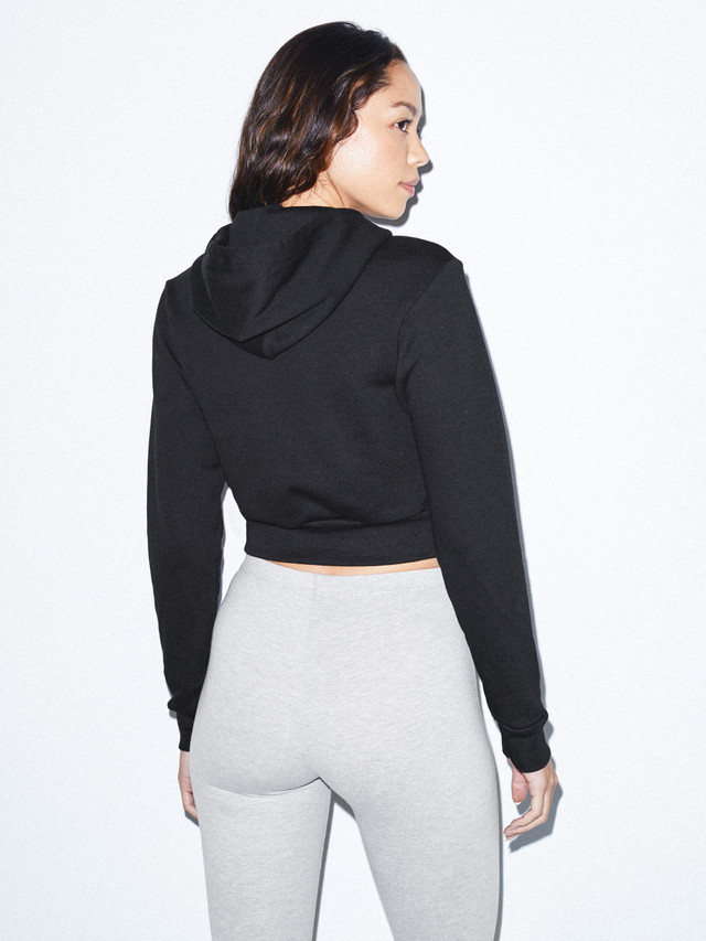 Flex Fleece Cropped Zip Hoodie (Black)