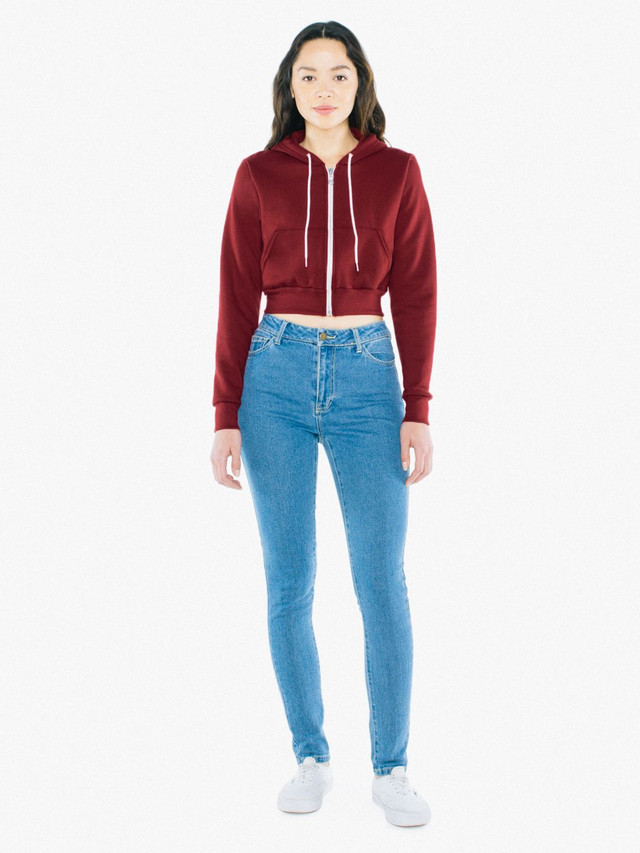 Flex Fleece Cropped Zip Hoodie (Cranberry)