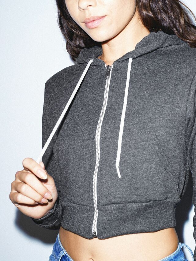 Flex Fleece Cropped Zip Hoodie (Dark Heather Grey)