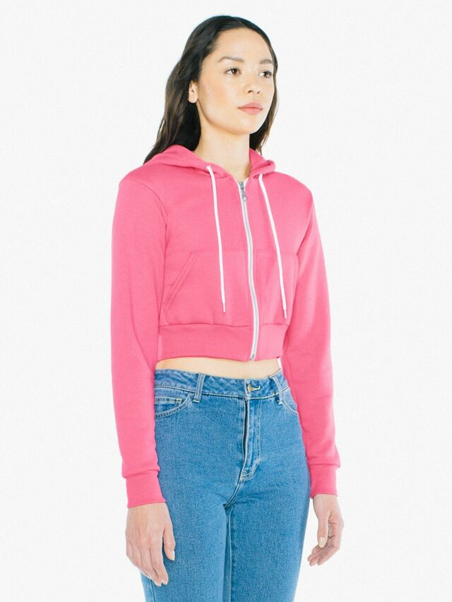Flex Fleece Cropped Zip Hoodie (Deep Pink)