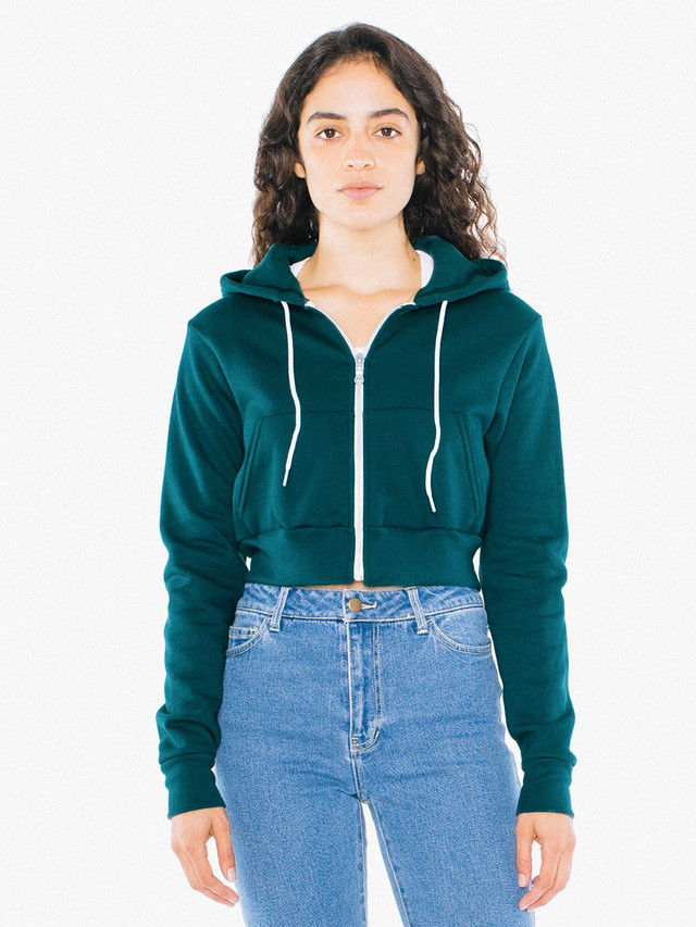 Flex Fleece Cropped Zip Hoodie (Forest)